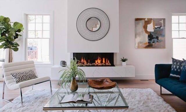 Frameless corner fireplace