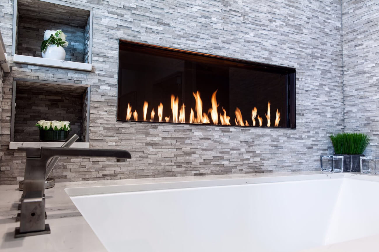 Flare Front Modern Frameless Fireplace Linear Fireplace