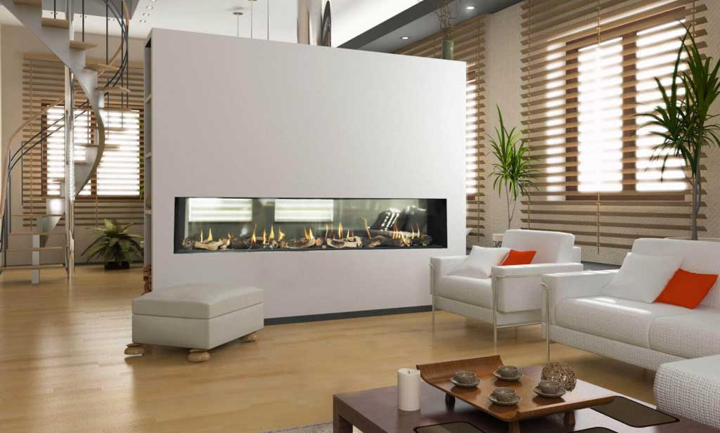modern see through fireplace