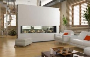 Modern frameless linear gas fireplace in a bed room