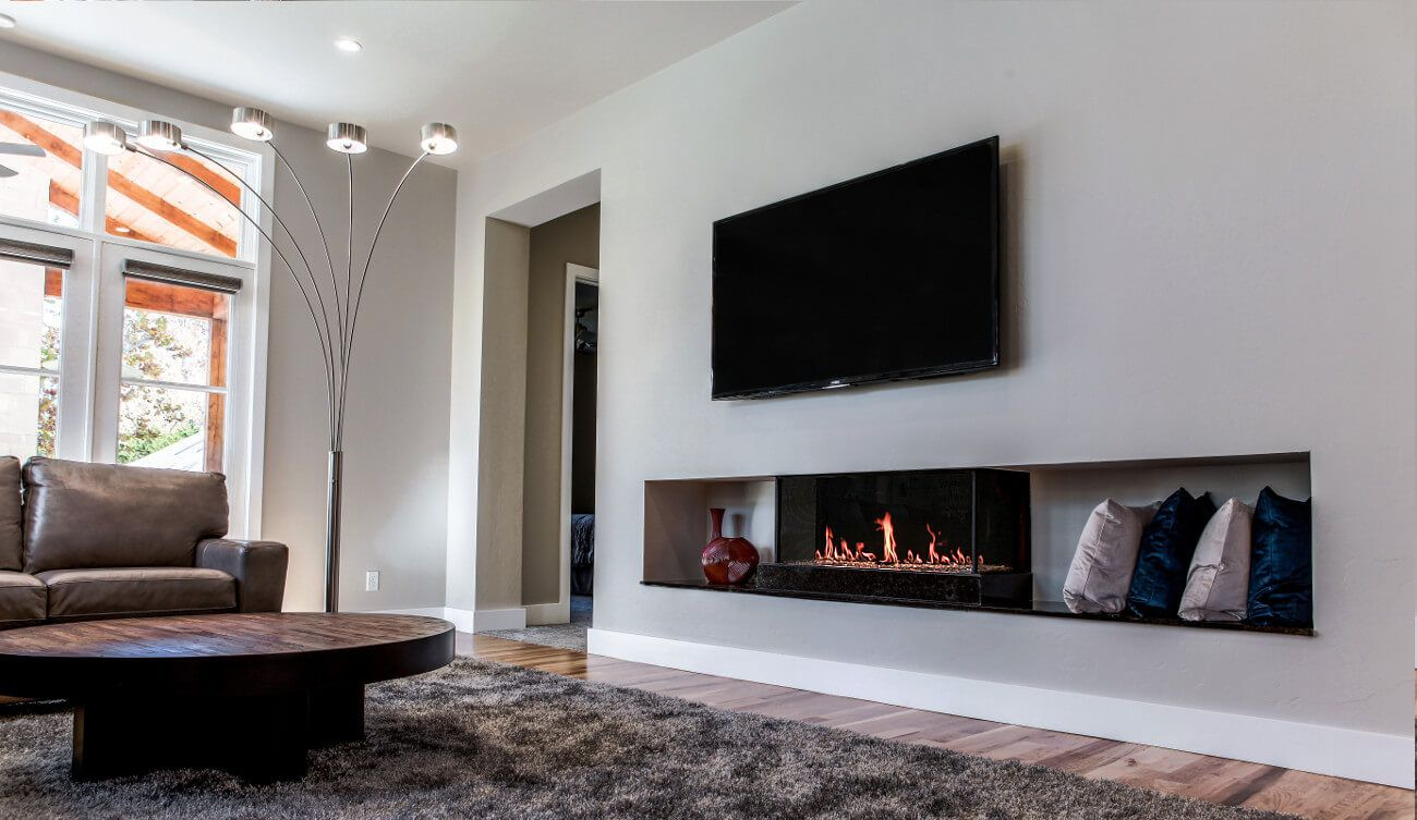 Flare Double Corner Fireplaces Linear