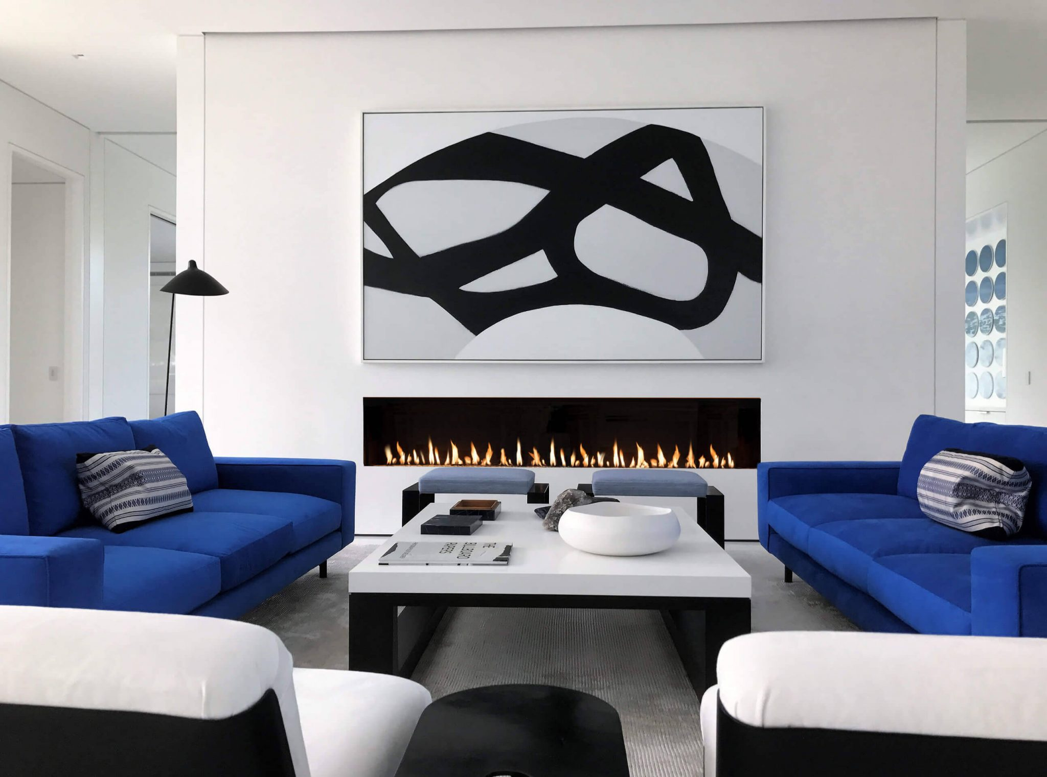 Modern living room with long linear gas fireplace