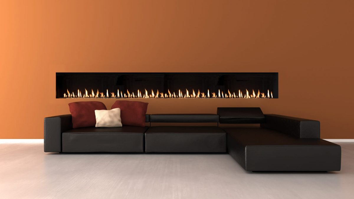 "100"" front facing modern fireplace. Linear fireplace"
