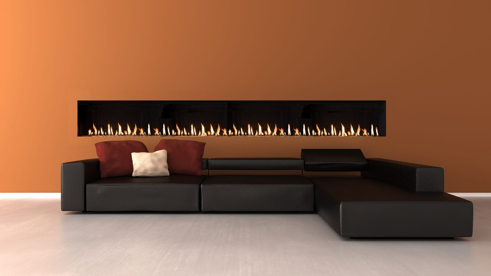 "100"" front facing modern fireplace"