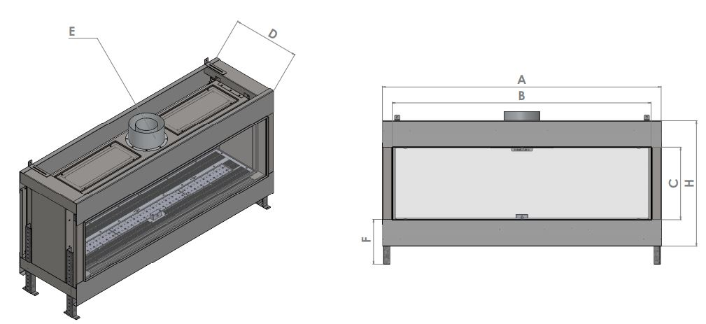 dimension drawing for commercial fireplace