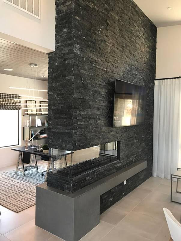 Corner Fireplace with stone above