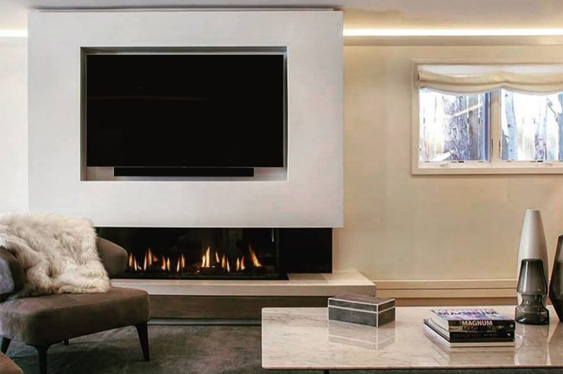 "Flare Double Corner 60"" Fireplace with Invisible Mesh Screen"