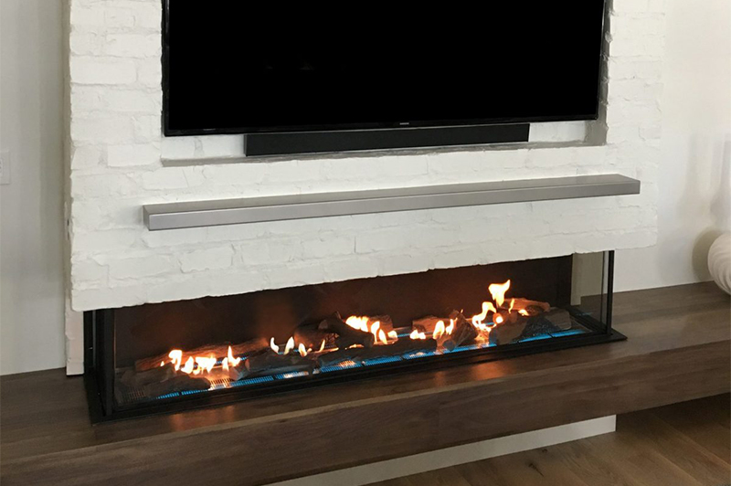 "Flare Double Corner 80"" Fireplace with Invisible Mesh Screen"