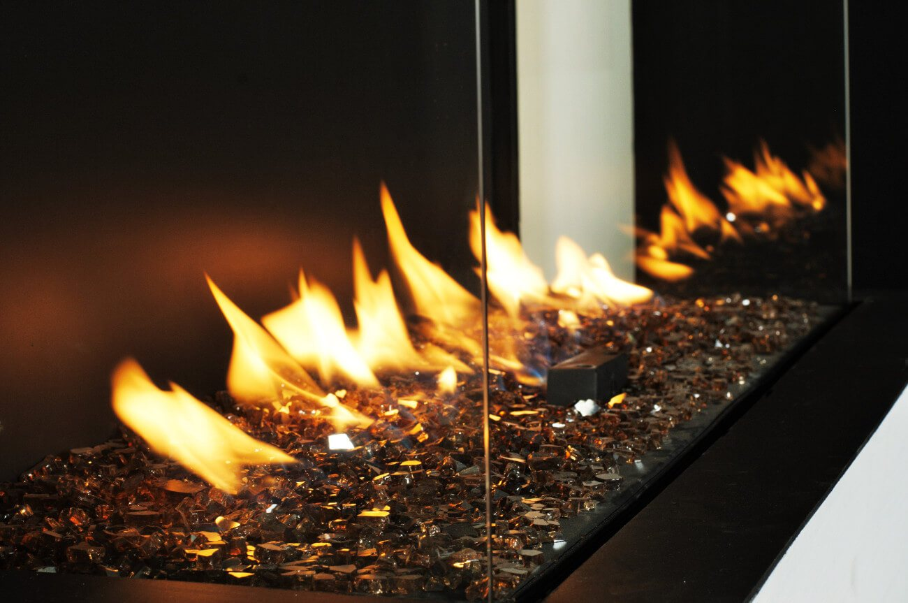 Flare modern fireplace with broken glass media