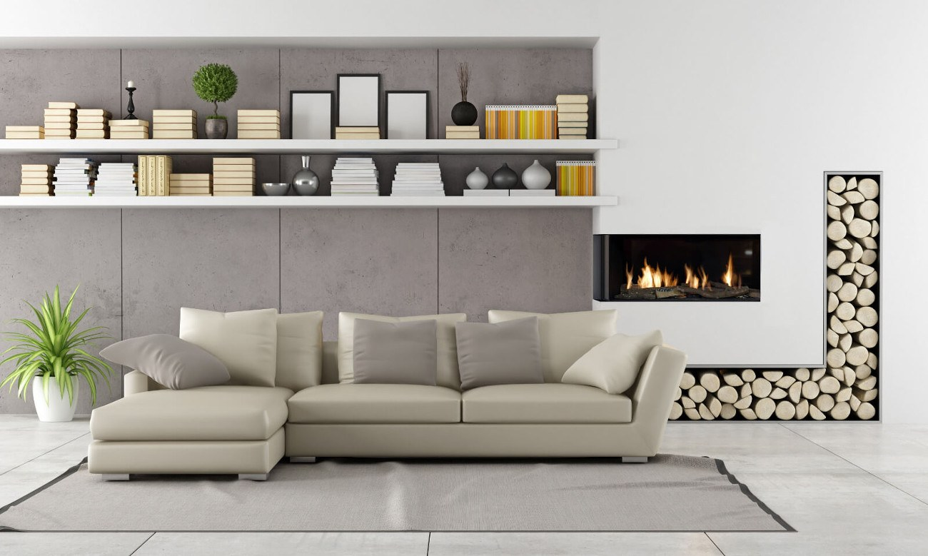 left corner modern fireplace with wood gas logs