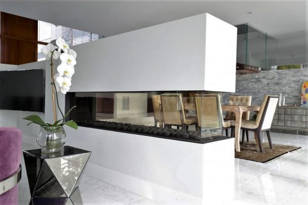 Modern see through Room Definer fireplace