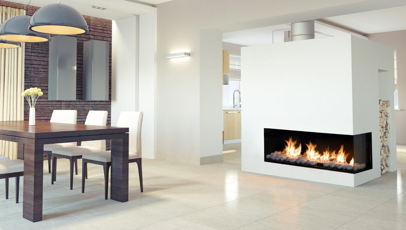 Right corner modern linear gas fireplace flare fireplaces for Modern fireplace gas