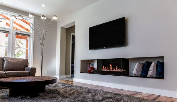 Modern Double Corner Glass Fireplace