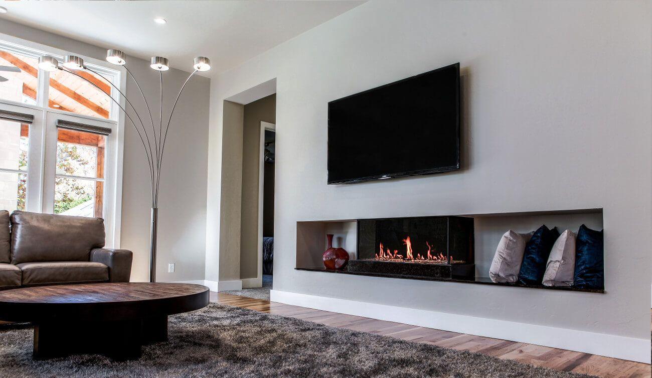 Modern Double Corner Glass Fireplace