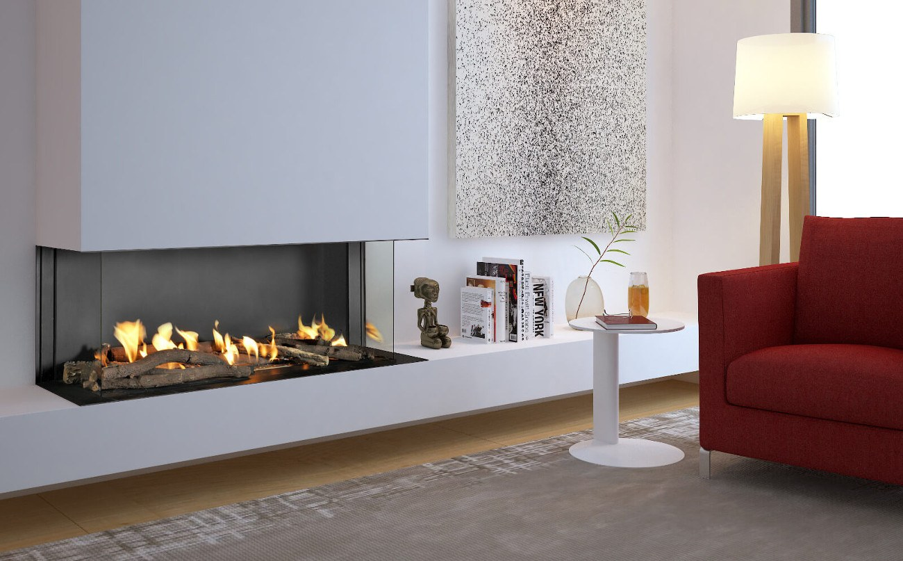 Double Corner Modern Designed Fireplaces Flare