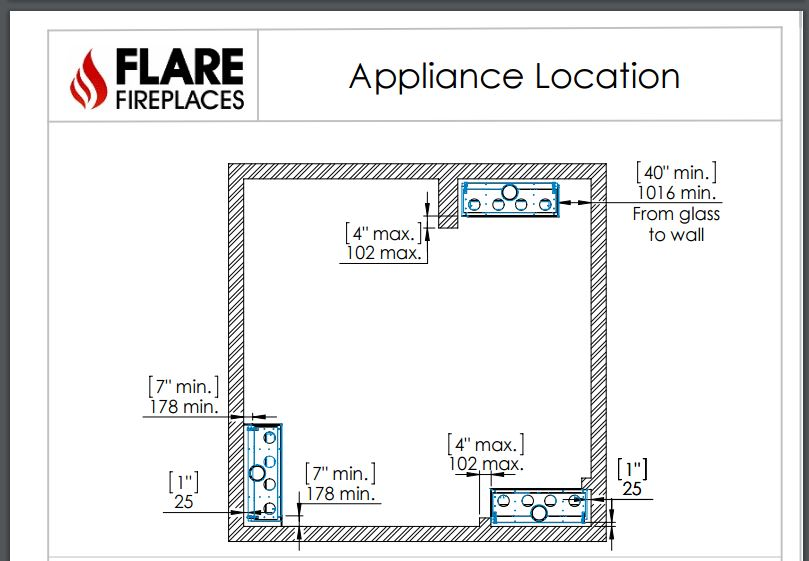 Flare Fireplace appliance location diagram