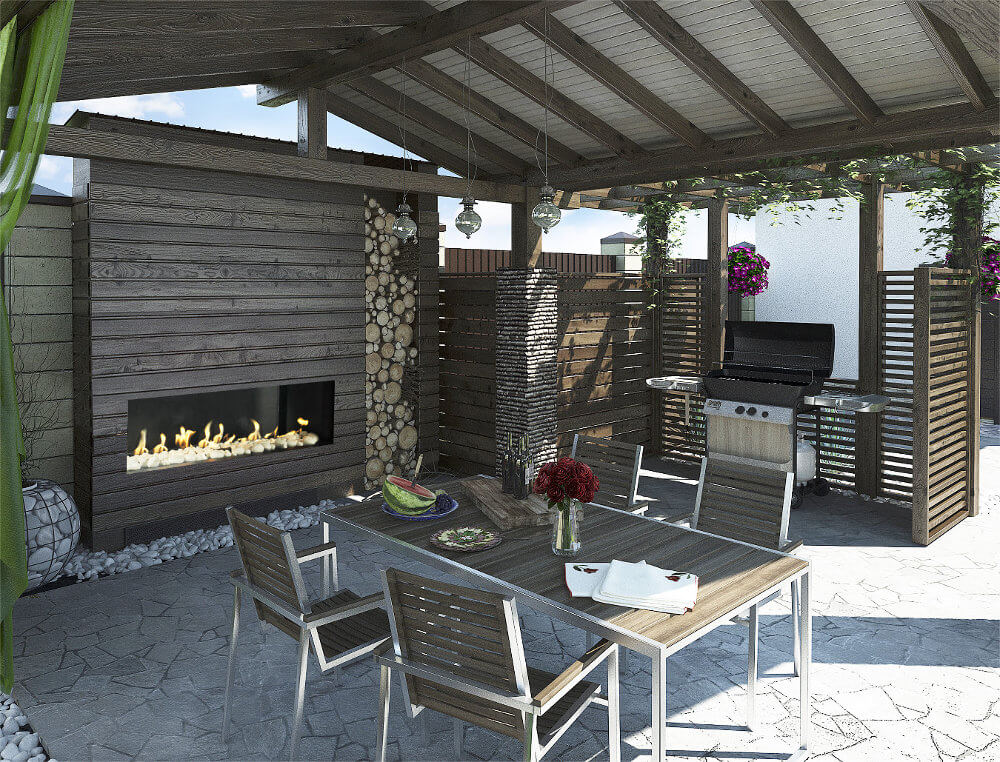 Modern outdoor frameless gas fireplace