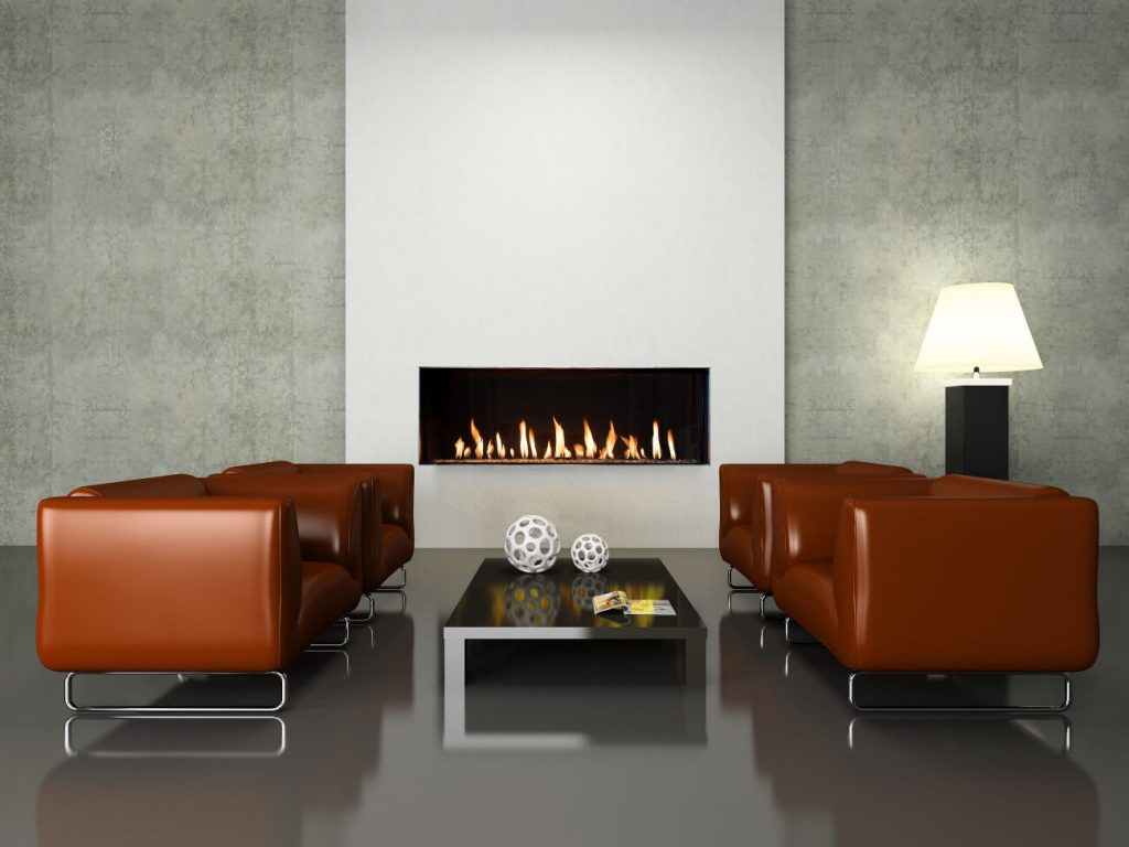 modern frameless linear fireplace