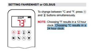 setting fahrenheit or celsius