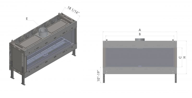 Front Facing modern fireplace diagram