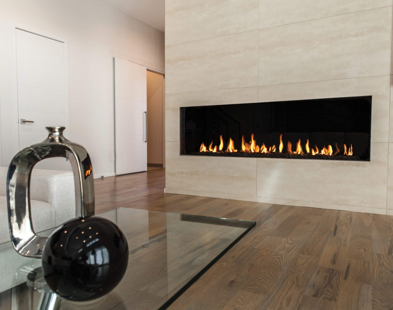 Flare Front modern linear fireplace