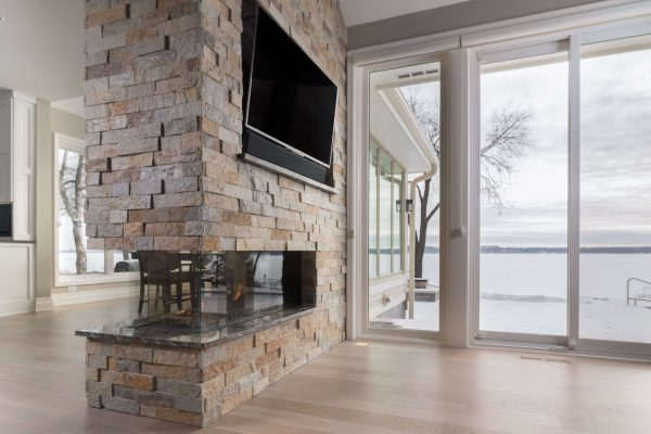 flare three sided modern fireplace