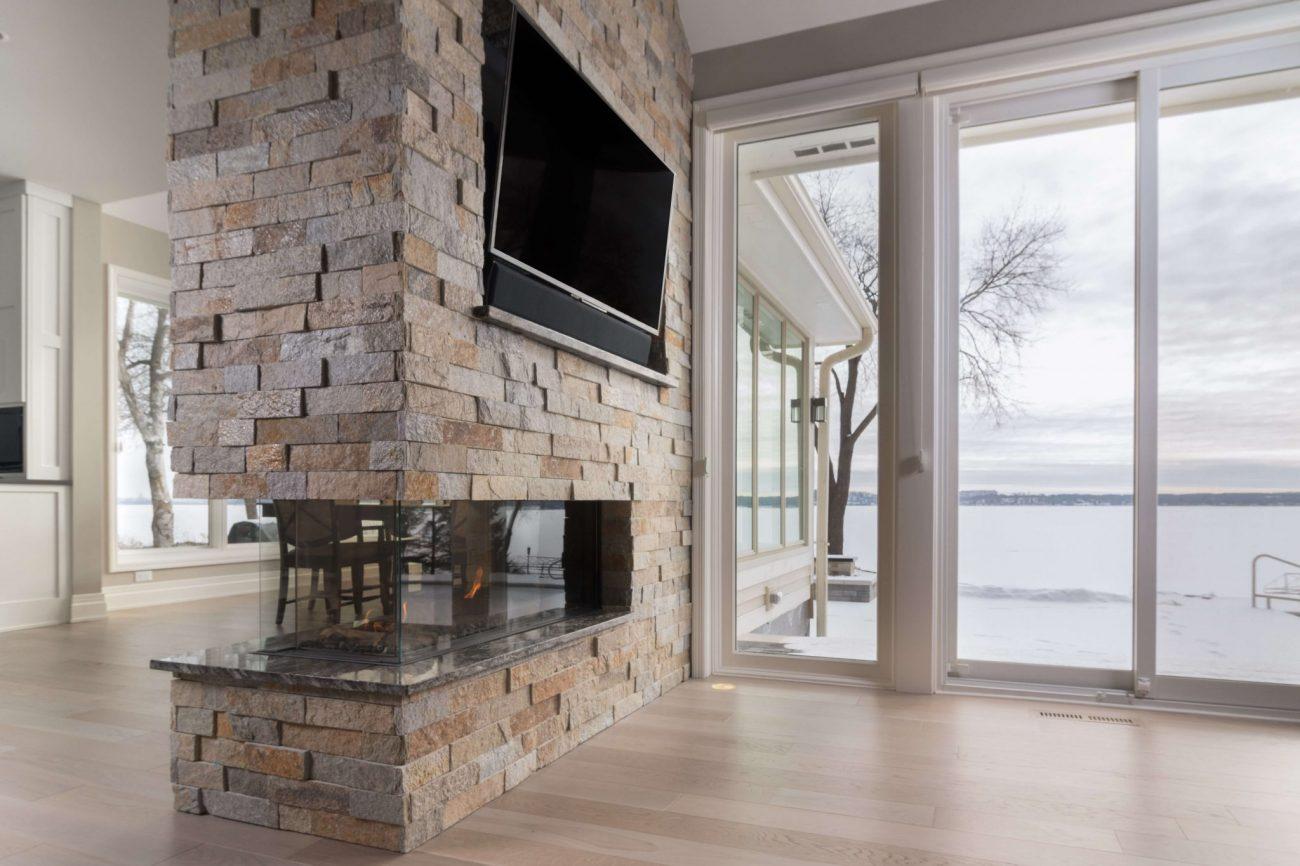 flare three sided modern fireplace