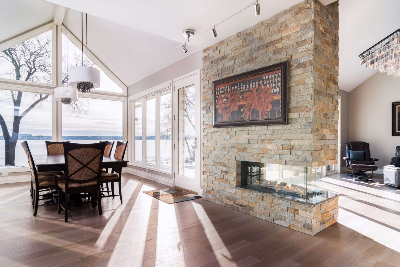 three sided See though modern fireplace