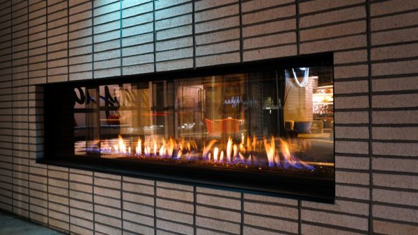Flare outdoor commercial gas frameless fireplace