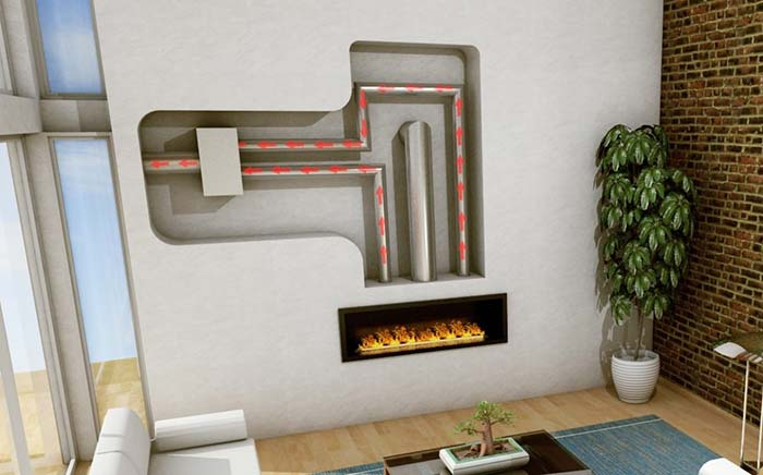 Linear inline system fireplace for summer