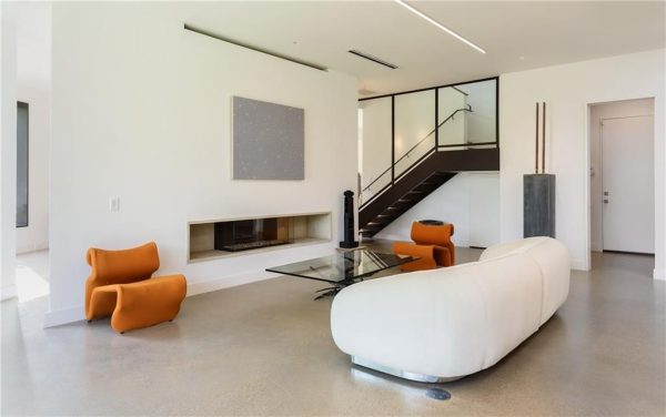 Modern two corner fireplace in living room