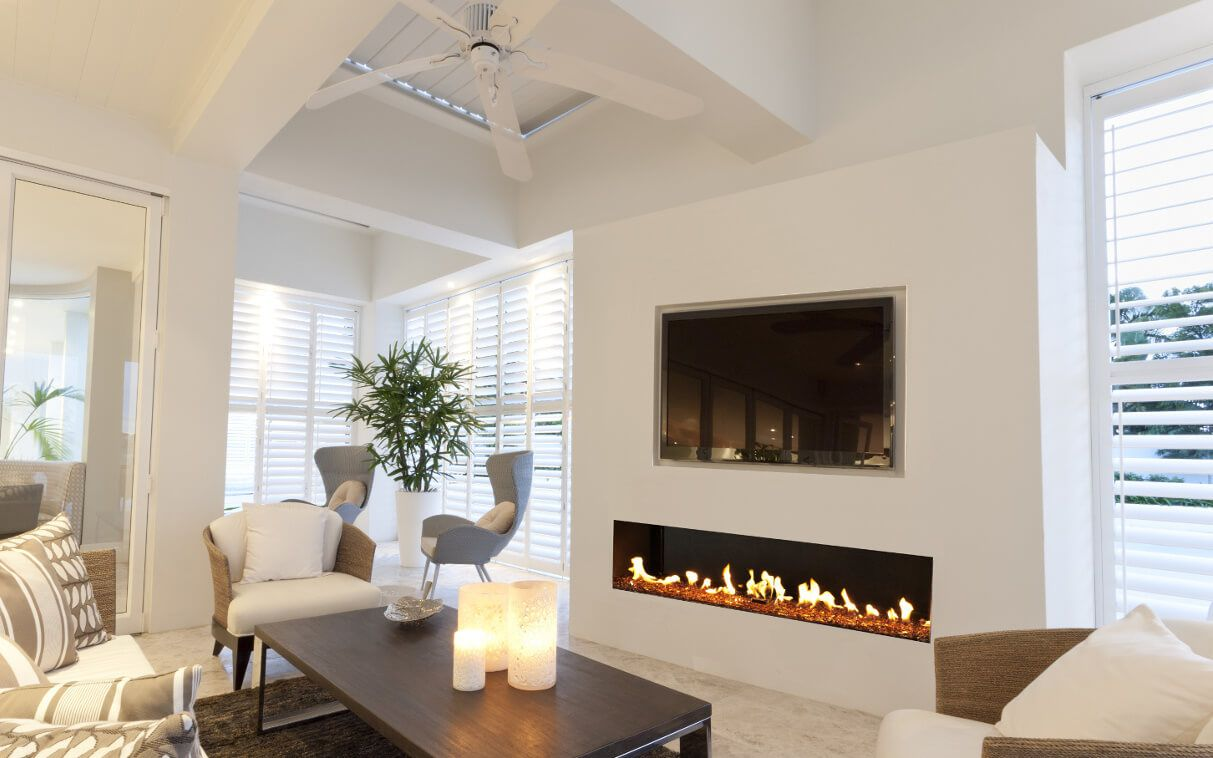 """Flare Front Facing 70"""" with TV installed above glass"""