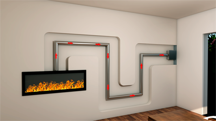 linear fireplace with horizontal end of line power vent