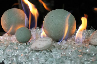 Grey Stone canon Balls fireplace media