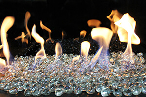 Zircon Clear Diamond fireplace media option
