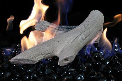 white logs and black zircon fireglass