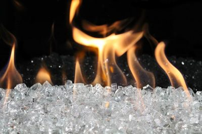 Clear Fireglass for modern fireplace