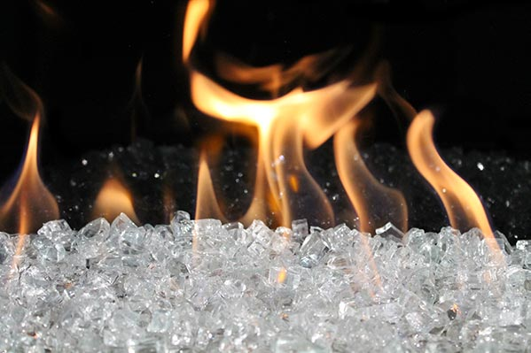 Clear FireGlass In Flare Fireplace