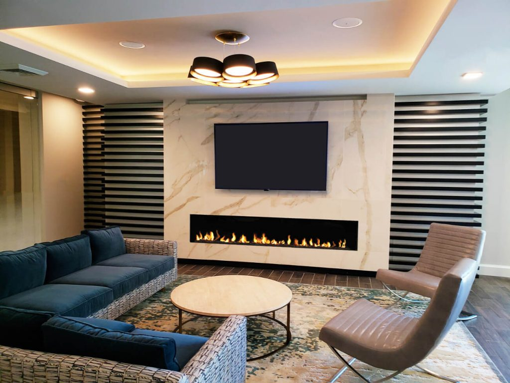 Flare Front facing fireplace with tv above
