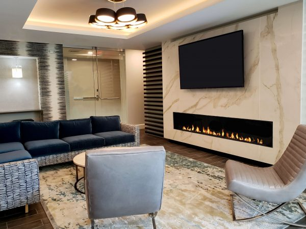 "Flare Linear Framless 100"" Fireplace"