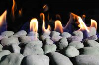 Black stones media options for gas fireplace