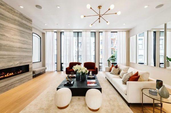 Linear Fireplace in a modern livingroom
