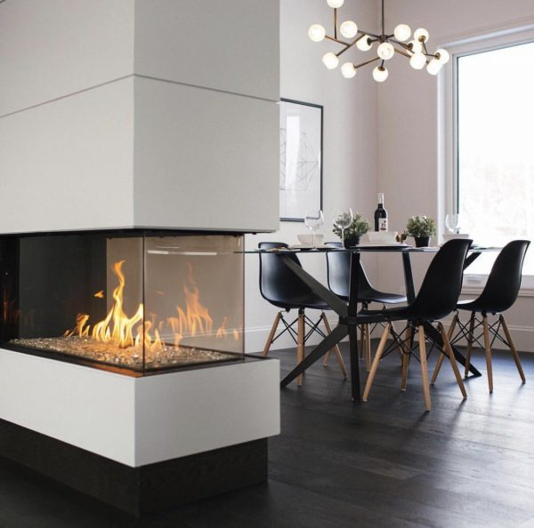 modern 3 sided fireplace - Flare Room Definer