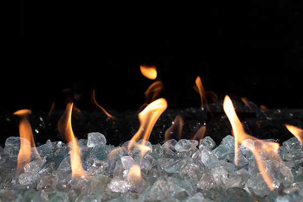 Contemporary Aqua Fire Glass