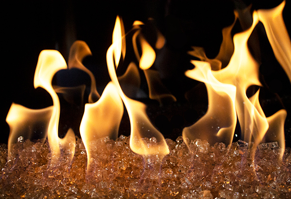 Champagne Fire Glass with nice yellow flames