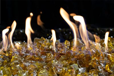 Chestnut fireglass burning in a fireplace