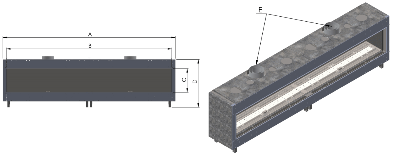 Front Facing Long unit associated with Model Size Chart
