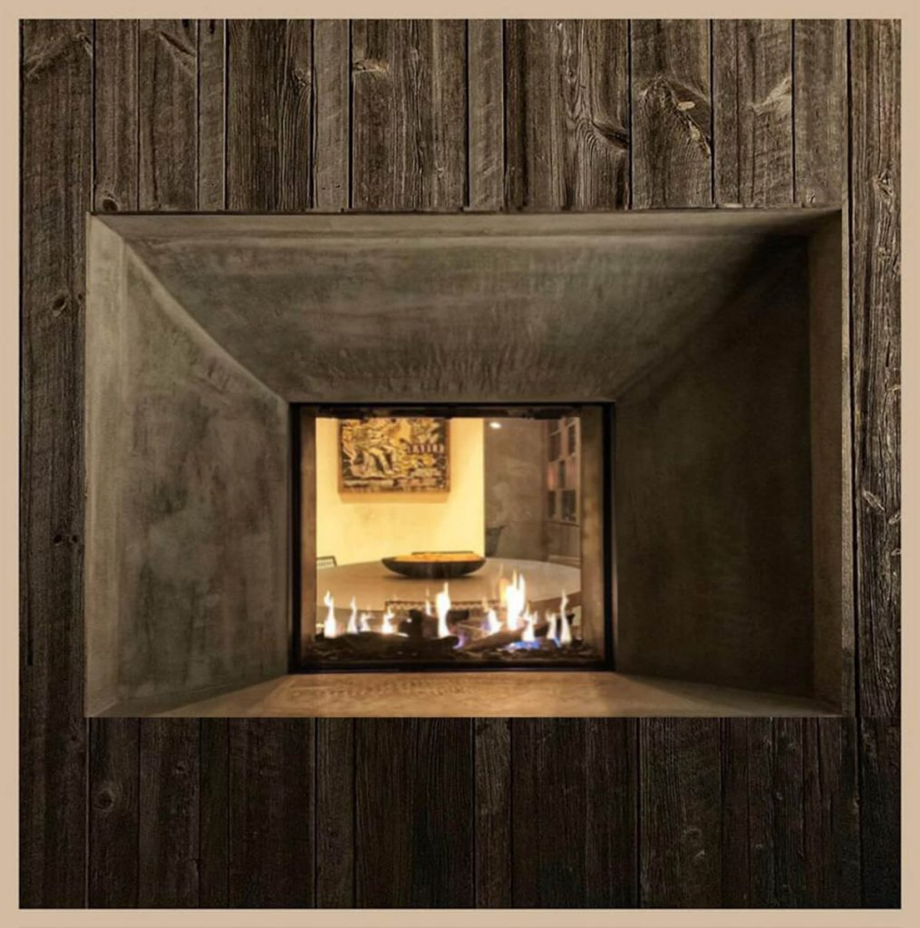"Flare See Through 30"" fireplace with 24"" high glass and invisible mesh safety screen"