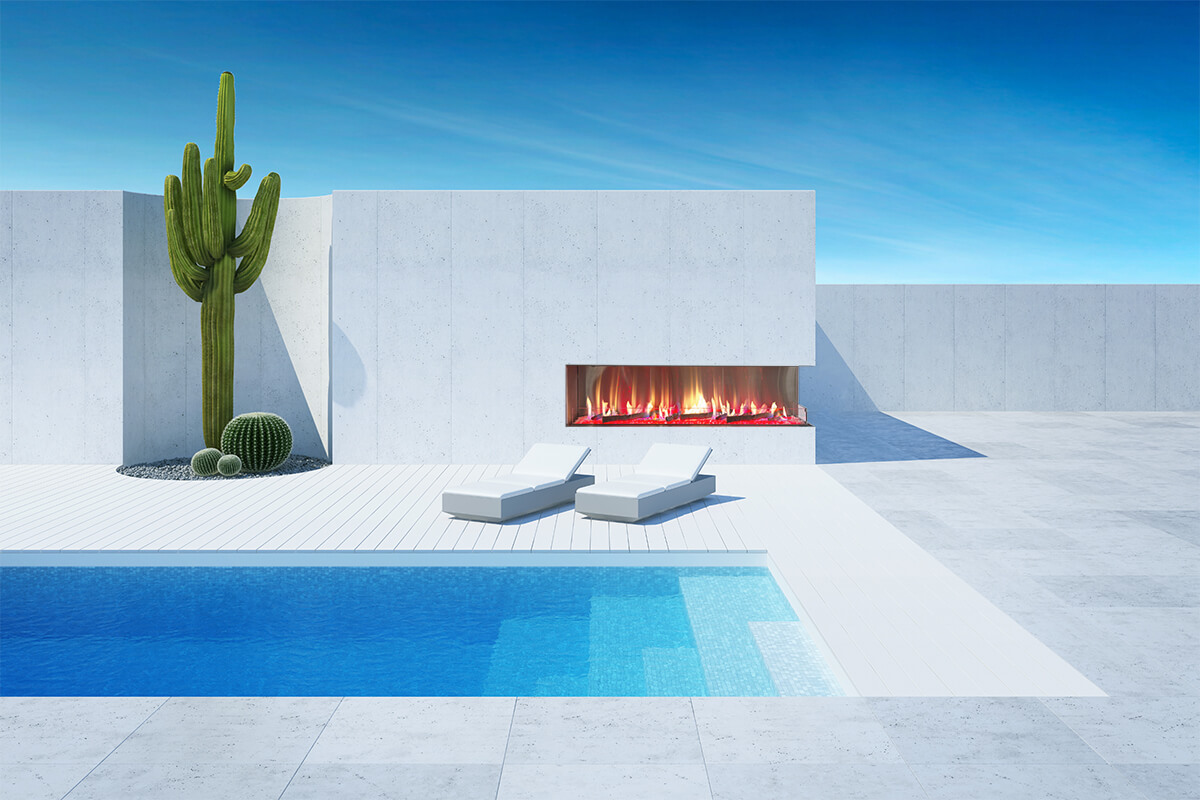 "Flare Vent Free Right Corner 100"" Outdoor Fireplace with 24"" High Opening"