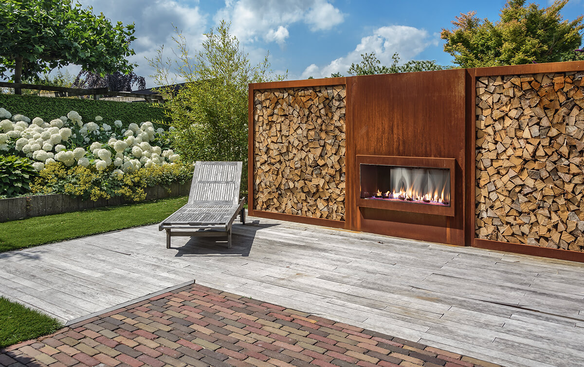 """Flare Vent Free Front Facing 70"""" Outdoor Fireplace with a 24"""" High Opening"""